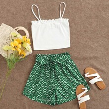Frill Trim Cami Top & Ditsy Floral Belted Shorts