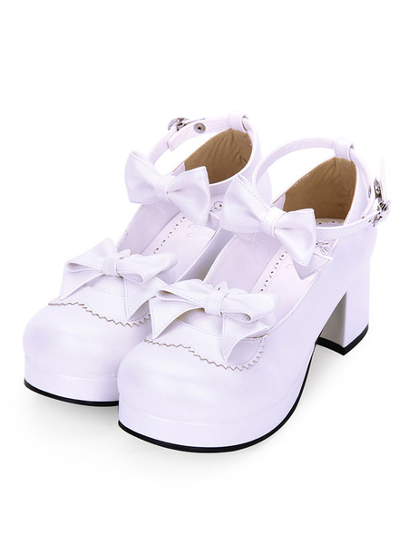 Milanoo Sweet Lolita Footwear Bow Ankle Strap Platform Chunky High Heel White Lolita Shoes