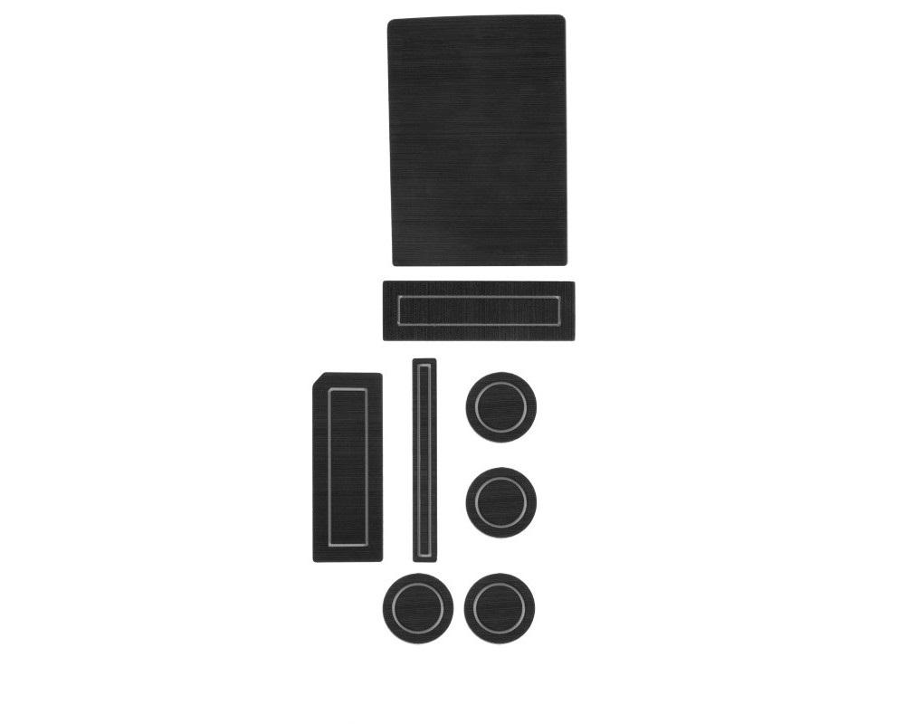 Tufskinz FRD019-FGY-X Interior Cup Holder Inserts Fits 2015-2016 F-150 Steering Column Shifter W/O Center Dash Speaker 8 Piece Kit In Black/Gray