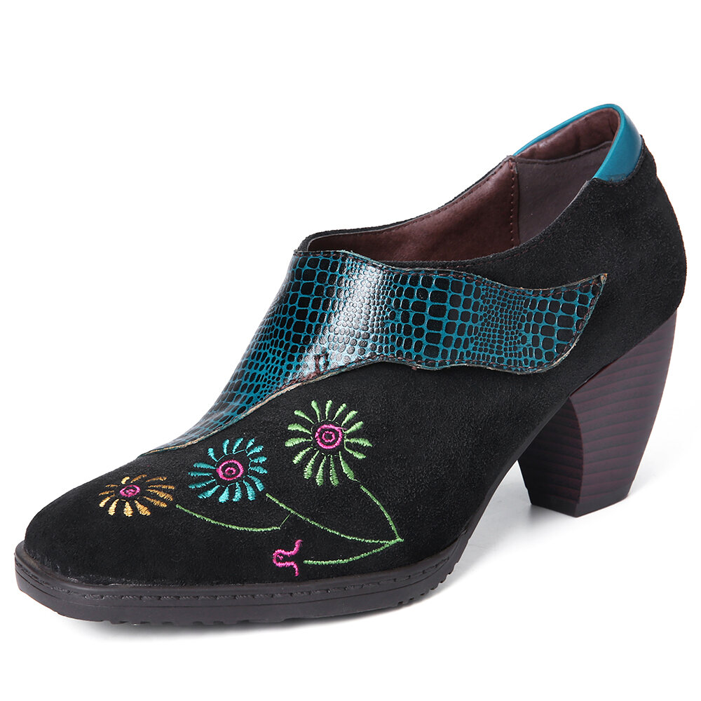 SOCOFY Retro Embroidery Lovely Flower Genuine Leather Casual Comfy Slip On Pumps