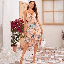 Cami Kleid mit Band vorn, Blumen Muster und mehrshcichtiger Raffung