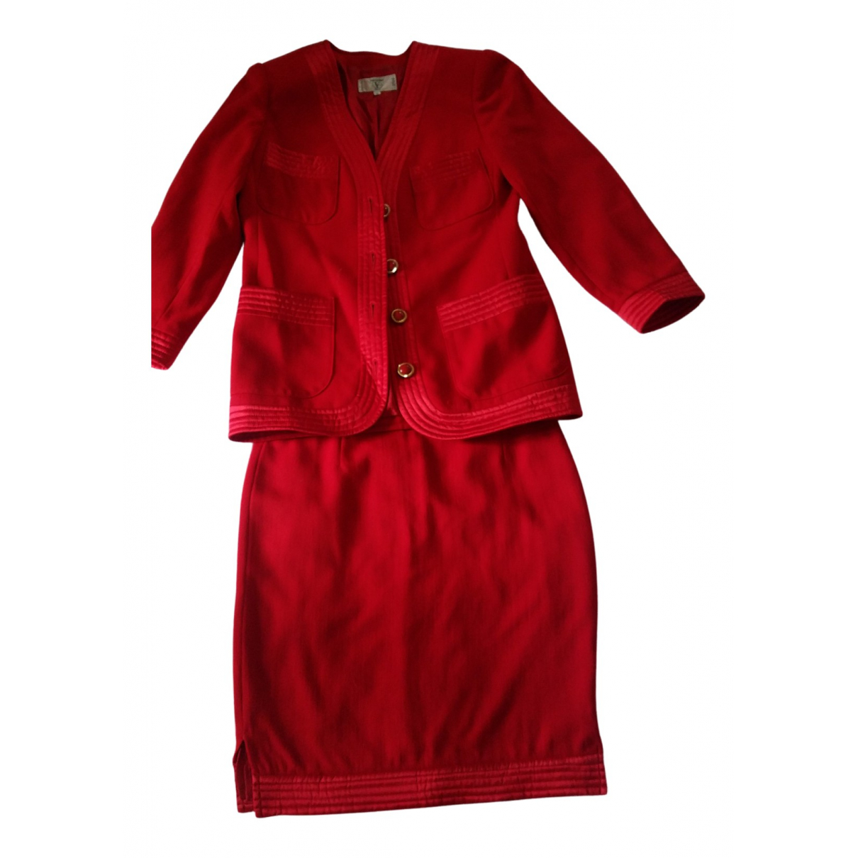 Valentino Garavani N Red Wool dress for Women 44 IT