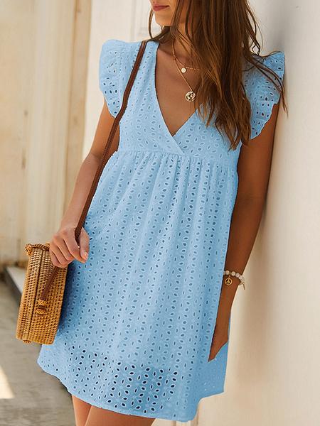 Milanoo Summer Dress V Neck Cut Out Lace Oversized Beach Dress