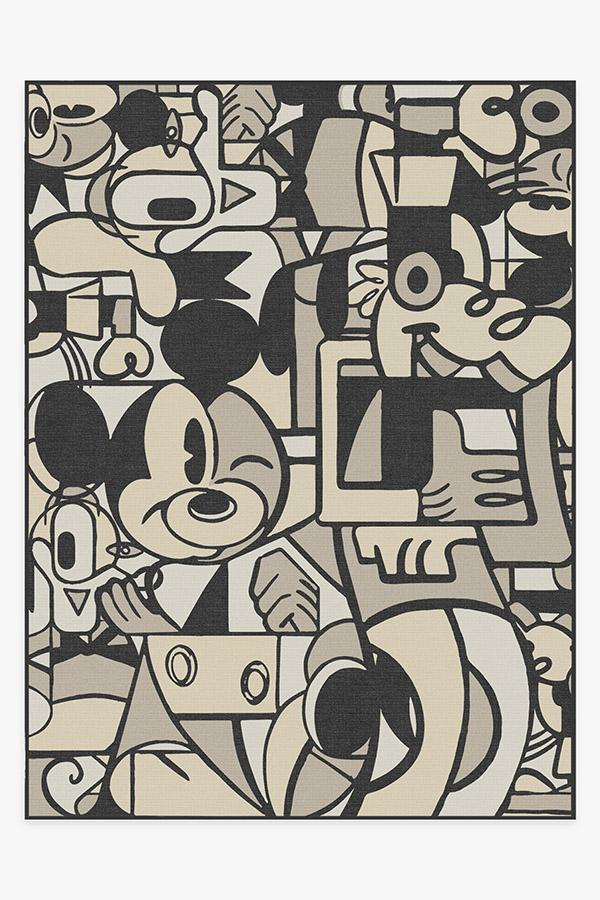 Washable Rug Cover   Mickey & Friends Warm Grey Rug   Stain-Resistant   Ruggable   9'x12'