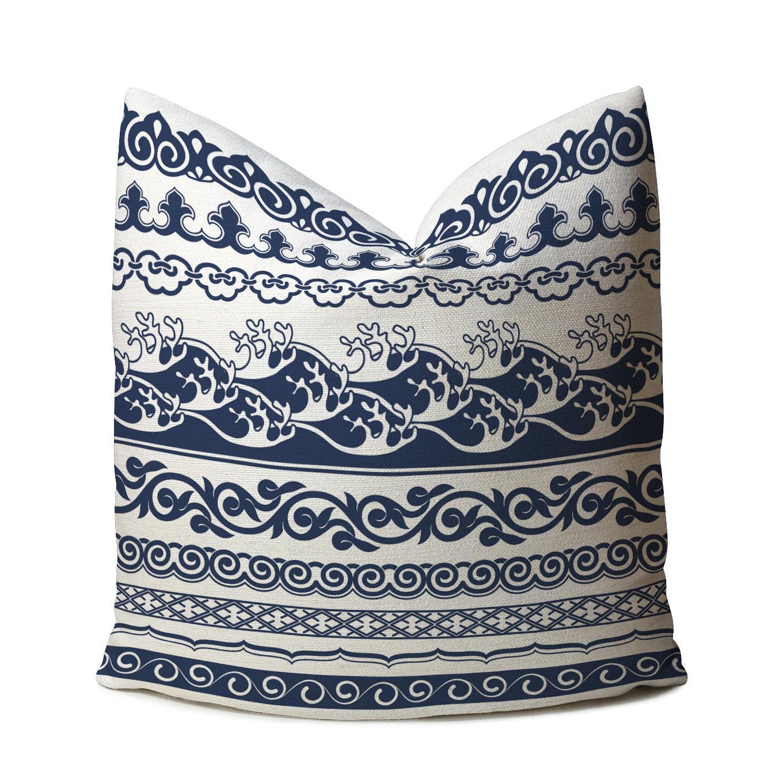 Classical Chinese Style Blue&White Printed Linen Cushion Cover Home Sofa Art Decor Throw Pillowcases