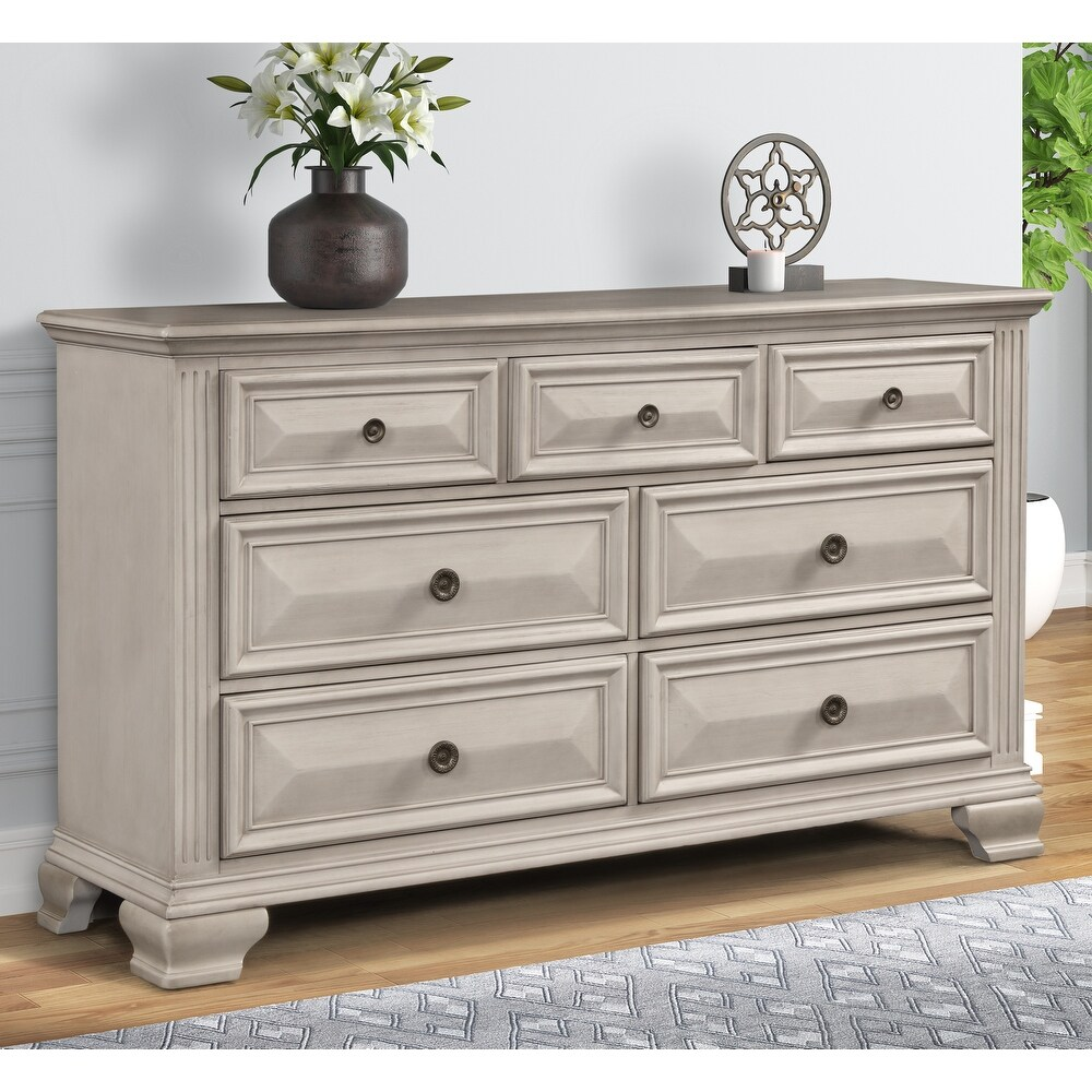 Renova Distressed Parchment 7-drawer Dresser (Antique White - 7-drawer)