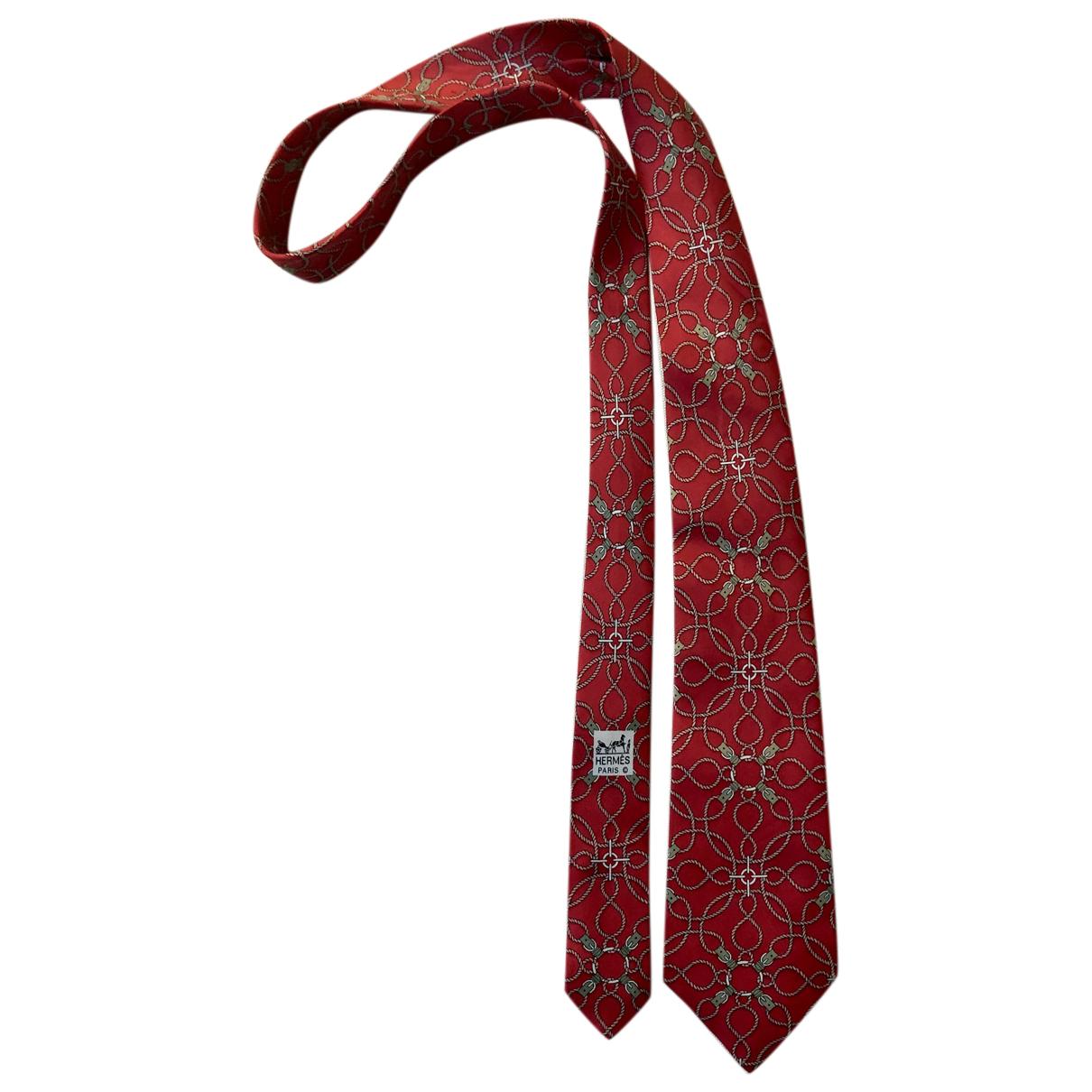 Hermès N Red Silk Ties for Men N