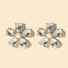Pendientes de tachuela con flor con piedra preciosa
