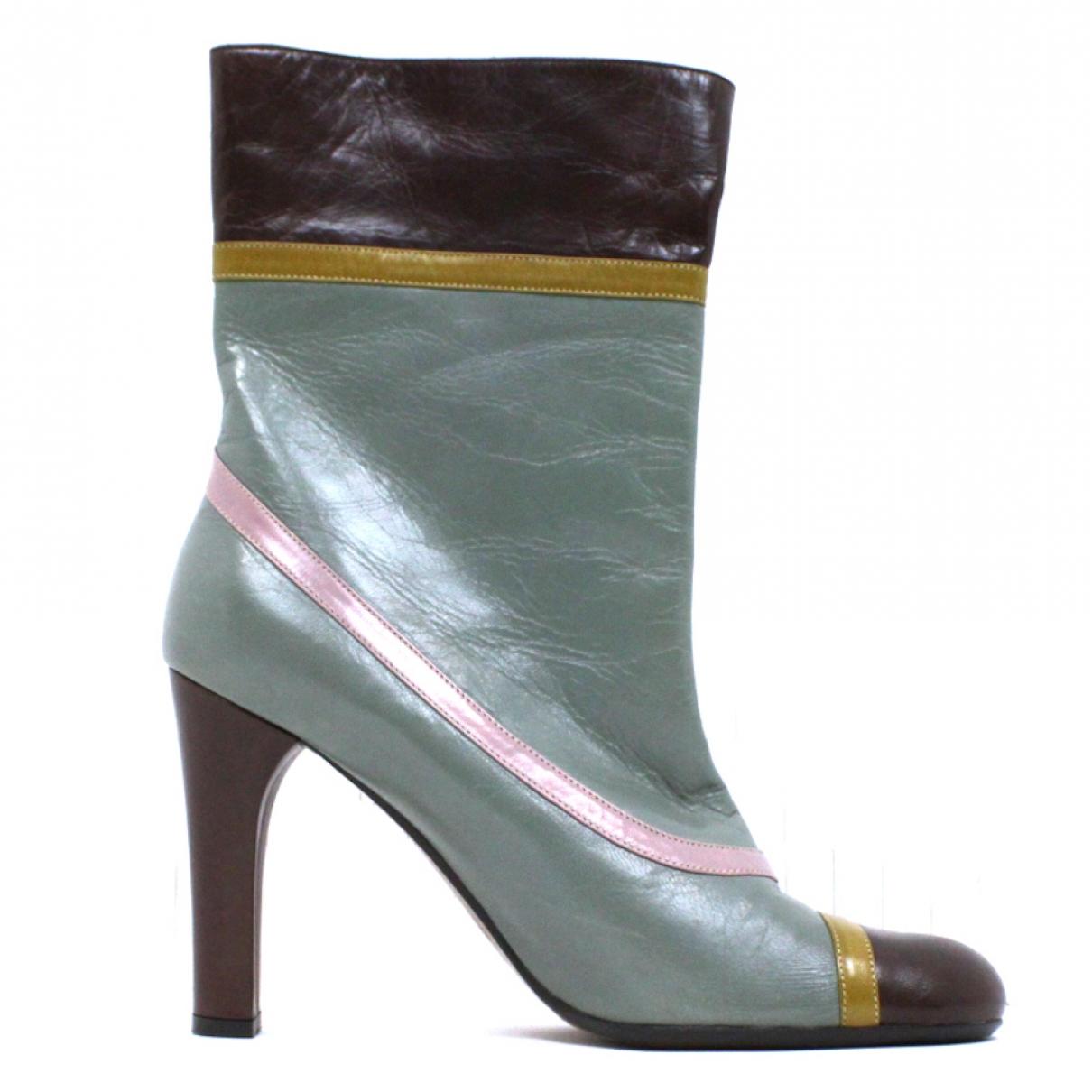 Marni - Boots   pour femme en cuir - gris