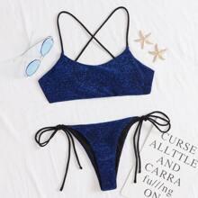 Glitter Tie Side Bikini Swimsuit