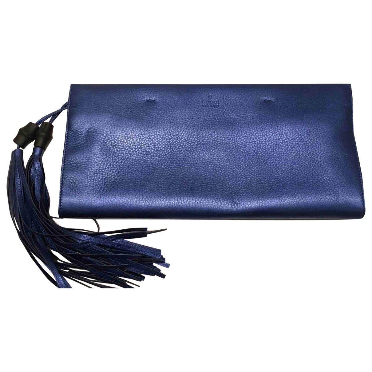 Gucci - Pochette Bamboo pour femme en cuir - bleu