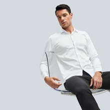 Men Solid Button Up Shirt