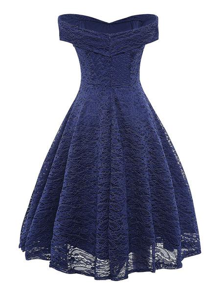 Milanoo Vestidos de encaje Azul marino oscuro Cuello en V Sin mangas Hombro abierto Encaje Hollow Out Vestidos cruzados retros