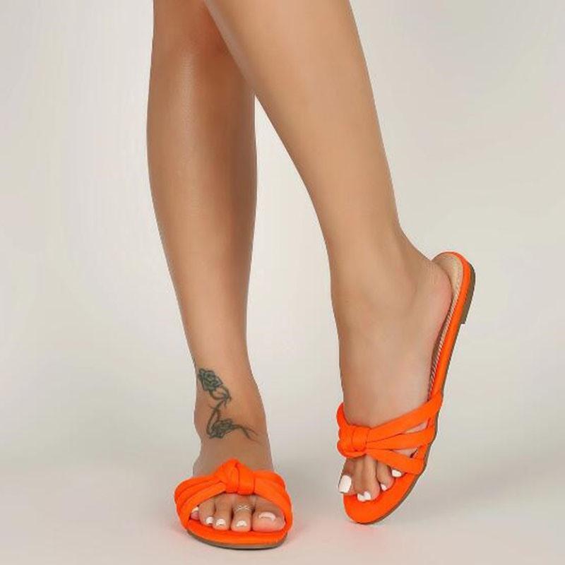 Ericdress Slip-On Block Heel Bow Plain Slippers