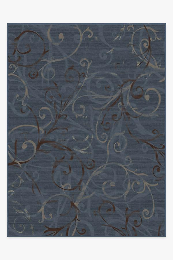 Washable Rug Cover & Pad | Ironwork Slate Blue Rug | Stain-Resistant | Ruggable | 9'x12'