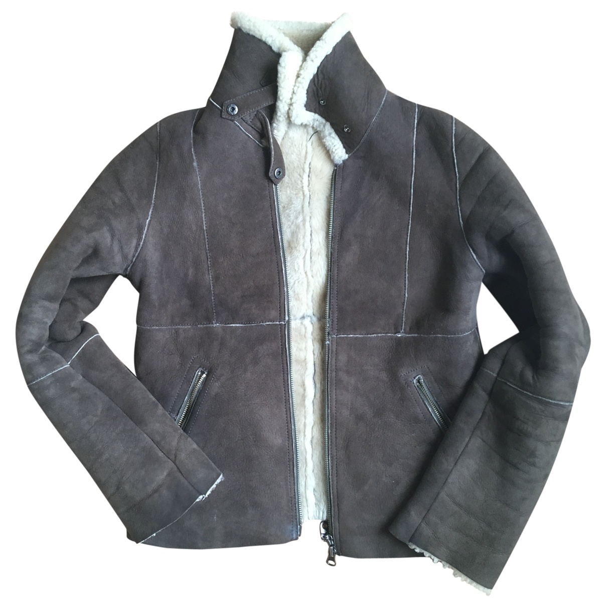 Comptoir Des Cotonniers - Manteau   pour femme en cuir - marron