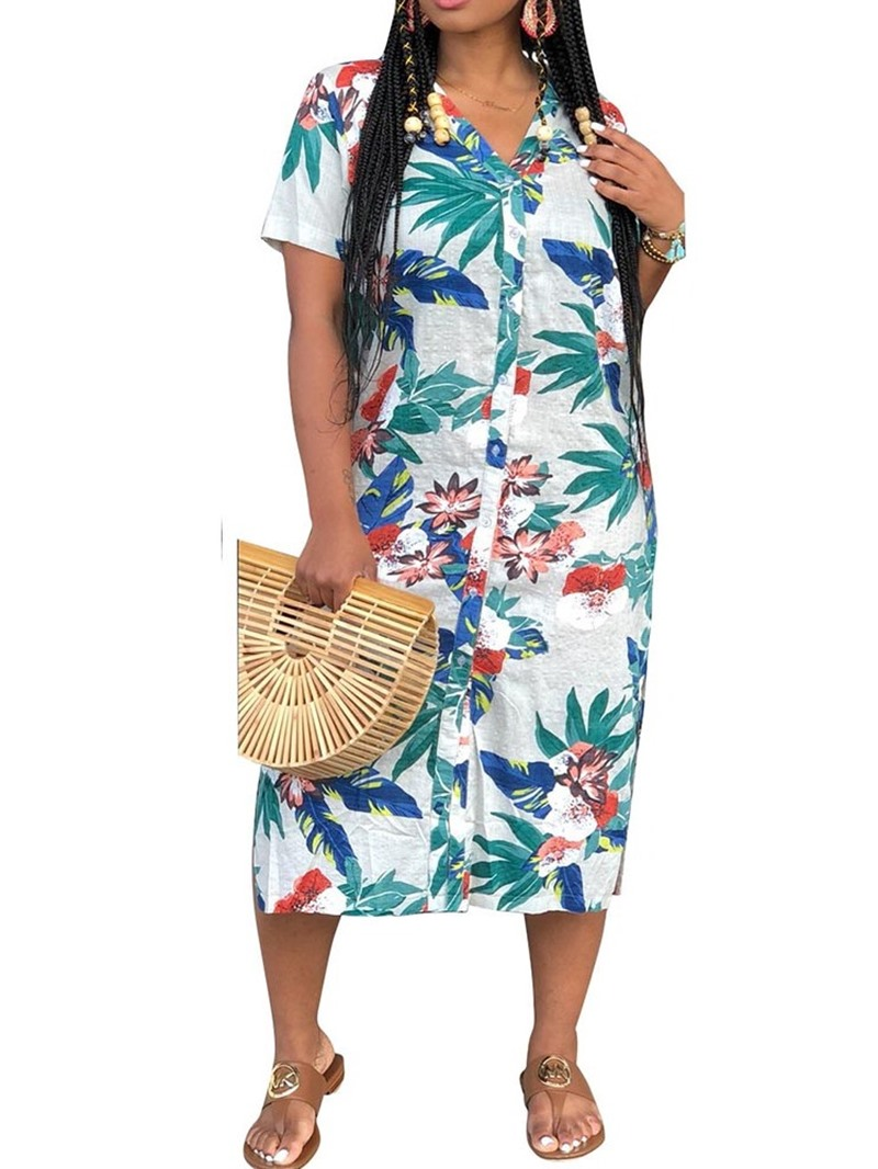 Ericdress Plant Print Casual V-Neck Single-Breasted Split Dress