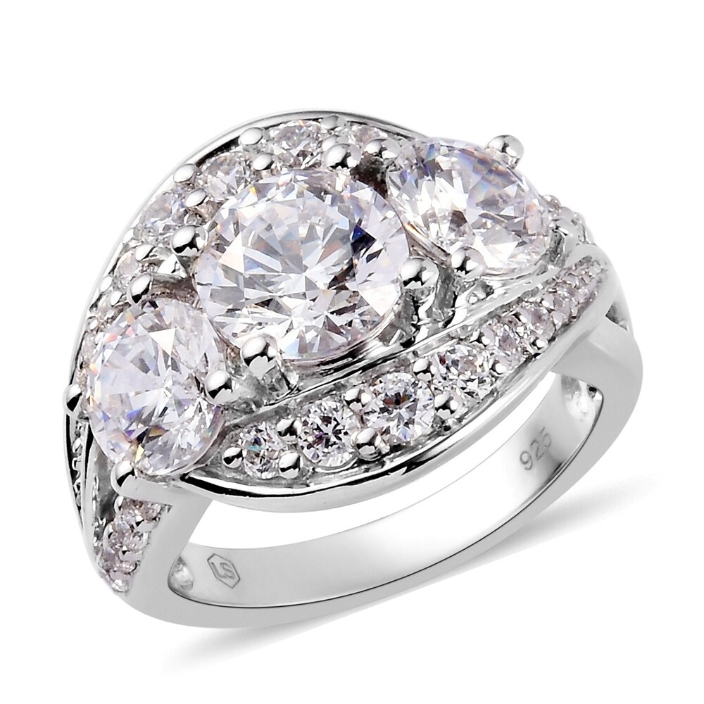 Platinum Over Silver Made with Swarovski Zirconia Ring Size 8 Ct 29.2 - Ring 8 (White - White - Ring 8)