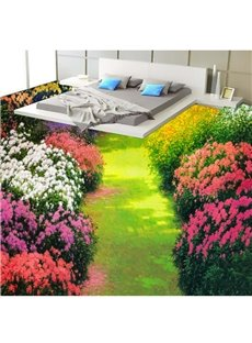Colorful Flowers in the Garden Print Home Decorative Waterproof Splicing 3D Floor Murals