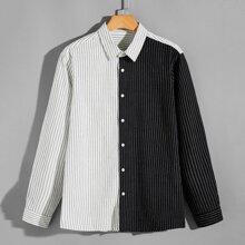 Camisa con boton de rayas de dos colores