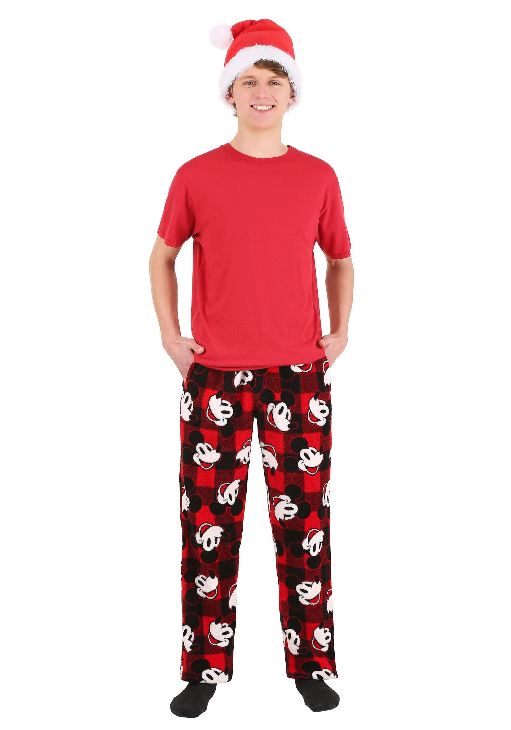 Men's Mickey Buffalo Check Lounge Pants w/ Hat