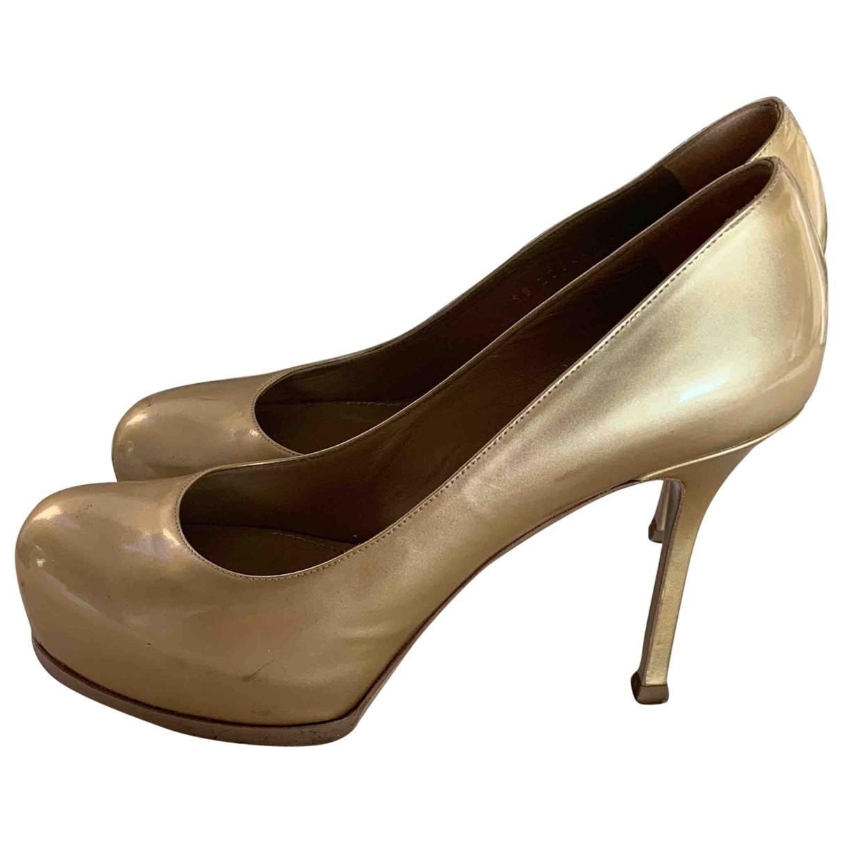 Yves Saint Laurent Trib Too Pumps in  Gold Leder