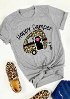 Happy Camper Leopard T-Shirt Tee - Gray