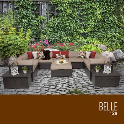 BELLE-12a-WHEAT Belle 12 Piece Outdoor Wicker Patio Furniture Set 12a with 2 Covers: Wheat and