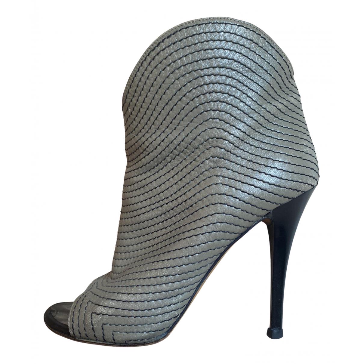 Giuseppe Zanotti - Boots   pour femme en cuir - gris