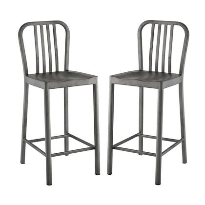 Clink Collection EEI-2954-SLV-SET Set of 2 Counter Height Stools with Plastic Non-Marking Feet  Supporting Stretcher and Powder Coated Steel Frame in
