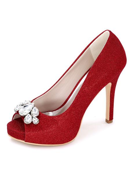 Milanoo Blue Peep Toe Wedding Shoes Glitter Platform Crystal Pumps Women's Stiletto Heel Bridal Shoes