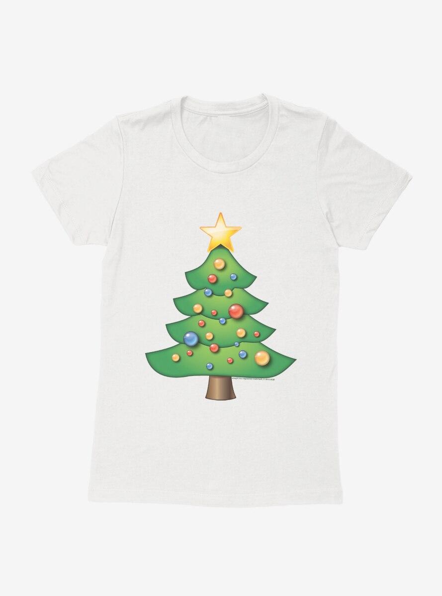 Emoji Holiday Icons Decorated Tree Womens T-Shirt