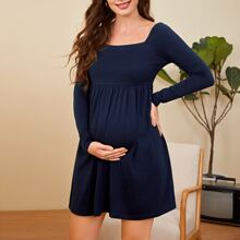 Maternity Square Neck Solid Babydoll Dress