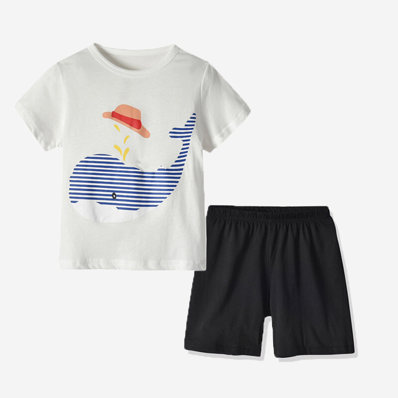 Boy's Whale Print Short Sleeve Casual Pajama Set For 1-5Y