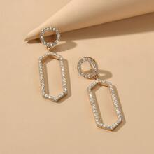 Rhinestone Geo Drop Earrings