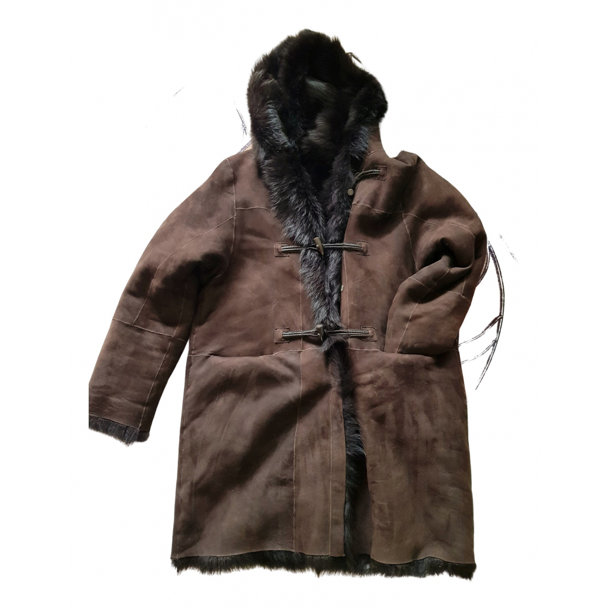Non Signé / Unsigned \N Brown Leather coat for Women 42 FR