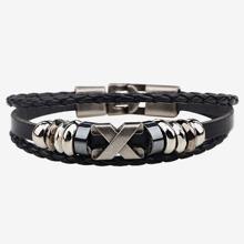 Guys Metal Decor Braided Bracelet