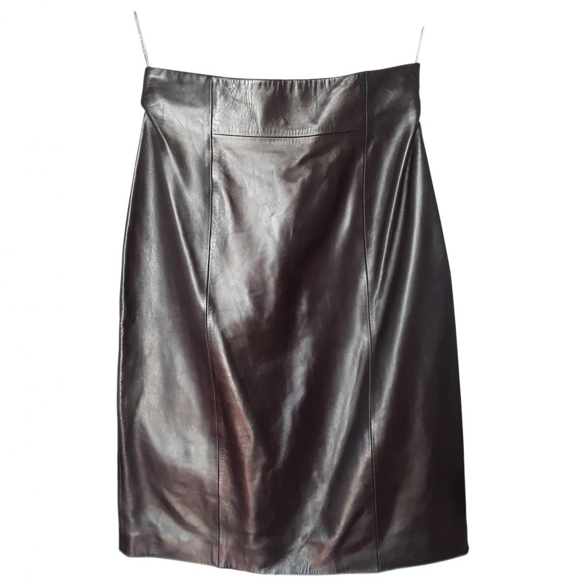 Celine \N Brown Leather skirt for Women 40 FR