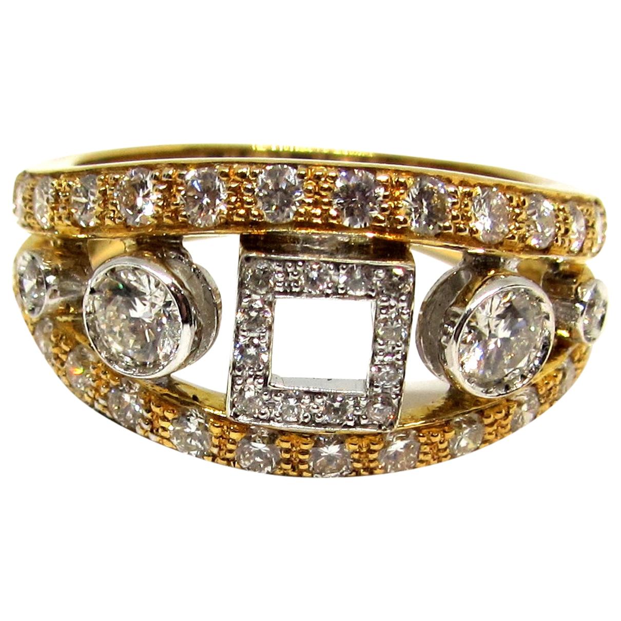 - Bague Art Deco pour femme en or jaune