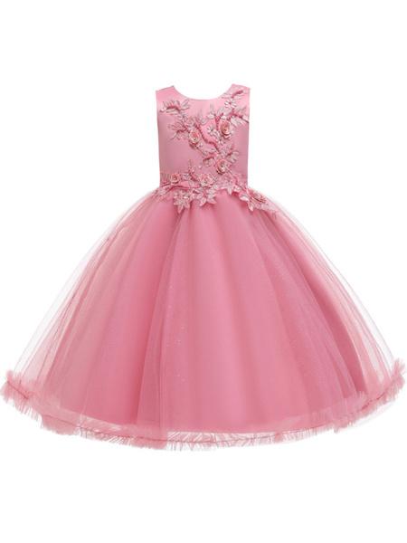 Milanoo Vestidos de niña de las flores Joya Cuello Sin mangas Lazos Niños Vestidos de fiesta social