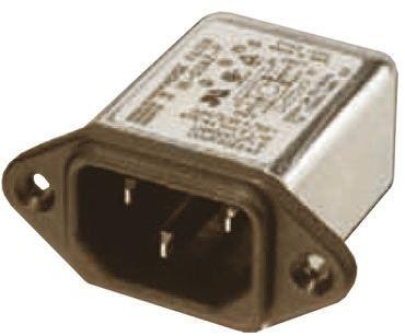 Deltron ,6A,250 V ac/dc Male PCB Mount IEC Filter RIX0642H,Tab None Fuse