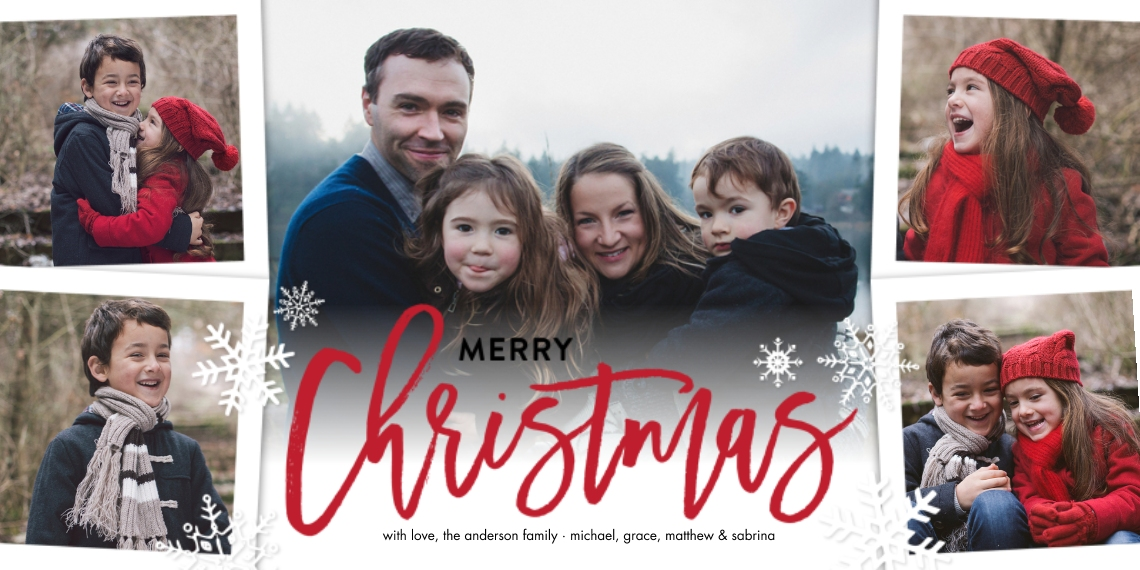 Christmas Photo Cards Flat Matte Photo Paper Cards with Envelopes, 4x8, Card & Stationery -Christmas Script Simple by Tumbalina