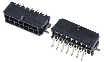 Molex , Micro-Fit 3.0, 43045, 14 Way, 2 Row, Right Angle PCB Header (5)
