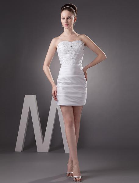 Milanoo Short Wedding Dress White Satin Sheath Pleated Strapless Sweetheart Neck Mini Bridal Dress