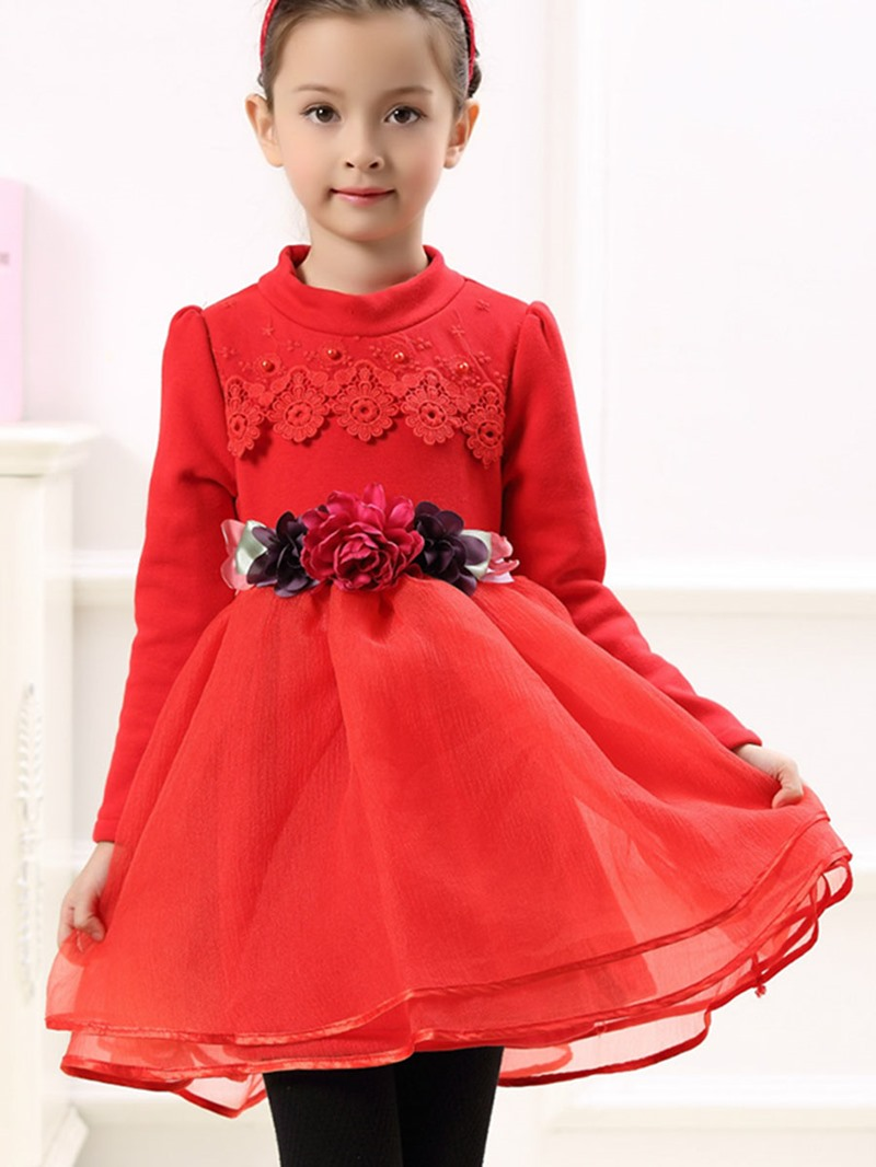Ericdress Flower Lace Long Sleeve Girls Tutu Dress