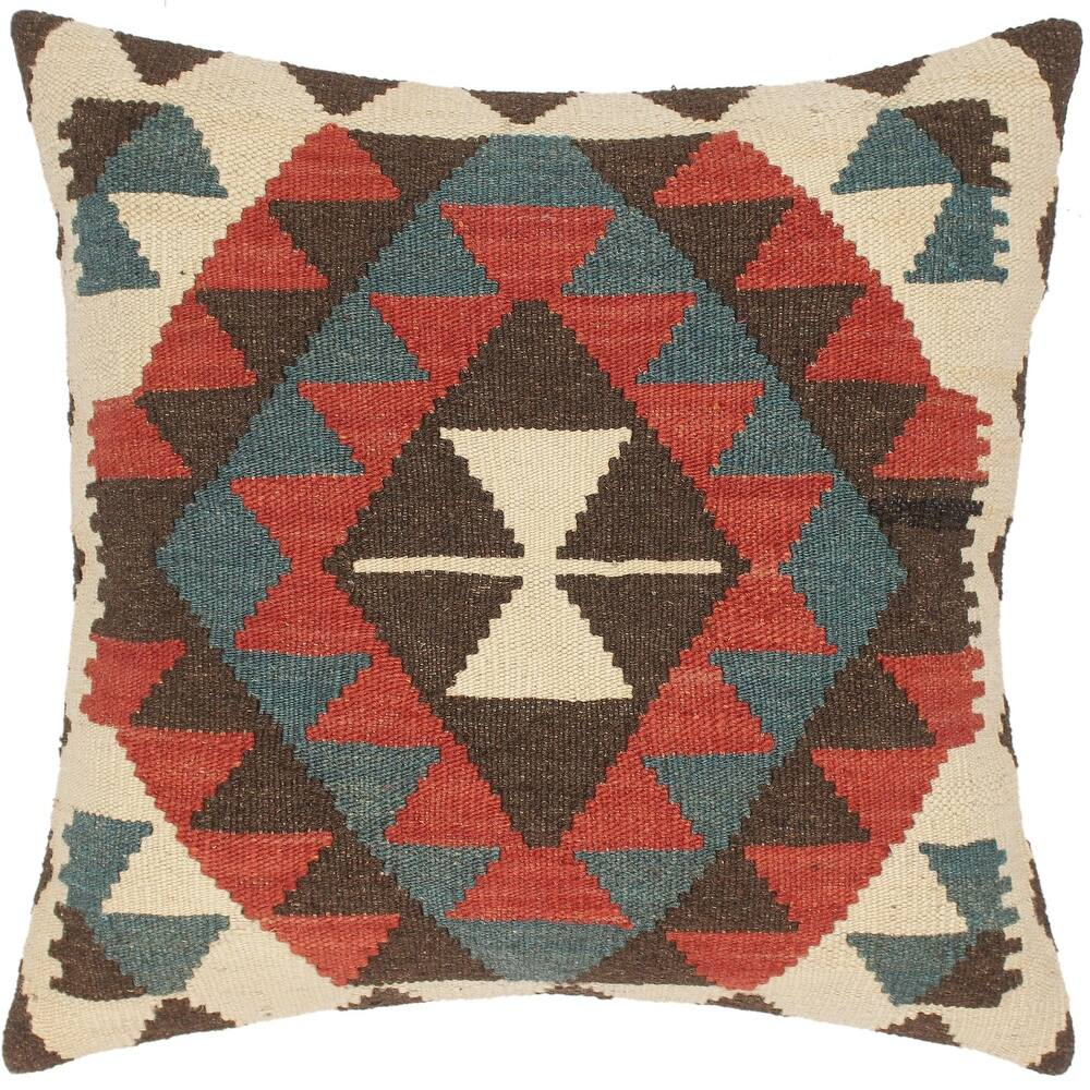 Boho Chic Sherell Hand-Woven Turkish Kilim Pillow 20 in. x 20 in. (Accent - 20 in. x 20 in. - Polyester - Brown - Single)