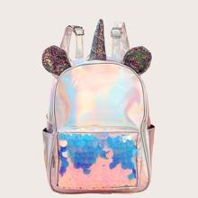 Girls Holographic Glitter & Sequin Decor Unicorn Design Backpack