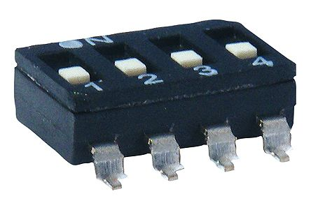KNITTER-SWITCH 2 Way Surface Mount DIP Switch 2PST, Raised Actuator (10)