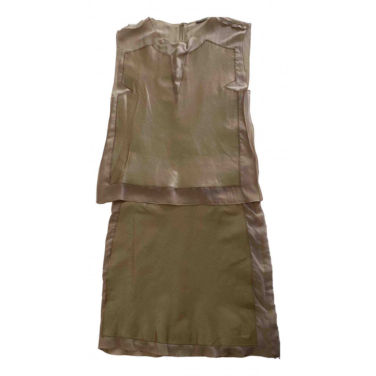 Bottega Veneta - Robe   pour femme en cuir - ecru