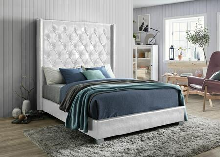 Julianna Collection JU8007-Q-WH Queen Size Bed with Tufted Headboard and Nailhead Trim in White